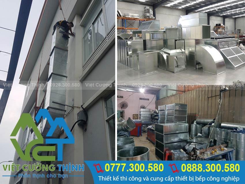 đường ống dẫn khói - ống hút khói nhà bếp trong hệ thống hút khói công nghiệp