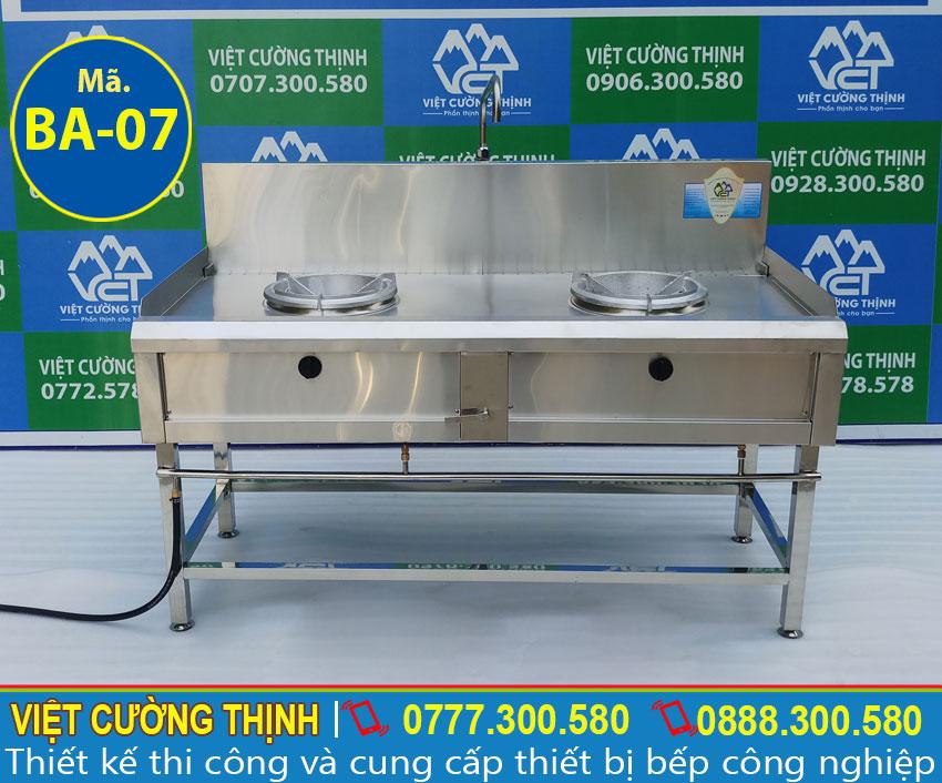 Mẫu bếp gas công nghiệp 2 họng, bếp kiềng tô 2 họng đốt sản xuất Việt Cường Thịnh.