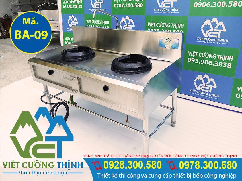 Thiết bị bếp á 2 họng đốt, bếp á 2 họng công nghiệp, bếp inox 2 họng cho nhà hàng (Ảnh thực tế tại Việt Cường Thịnh).
