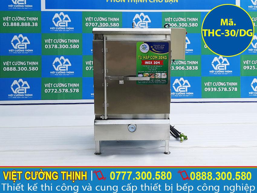 Tủ hấp cơm công nghiệp, Tủ nấu cơm công nghiệp 30kg bằng điện và gas sản xuất Inox Việt Cường Thịnh.