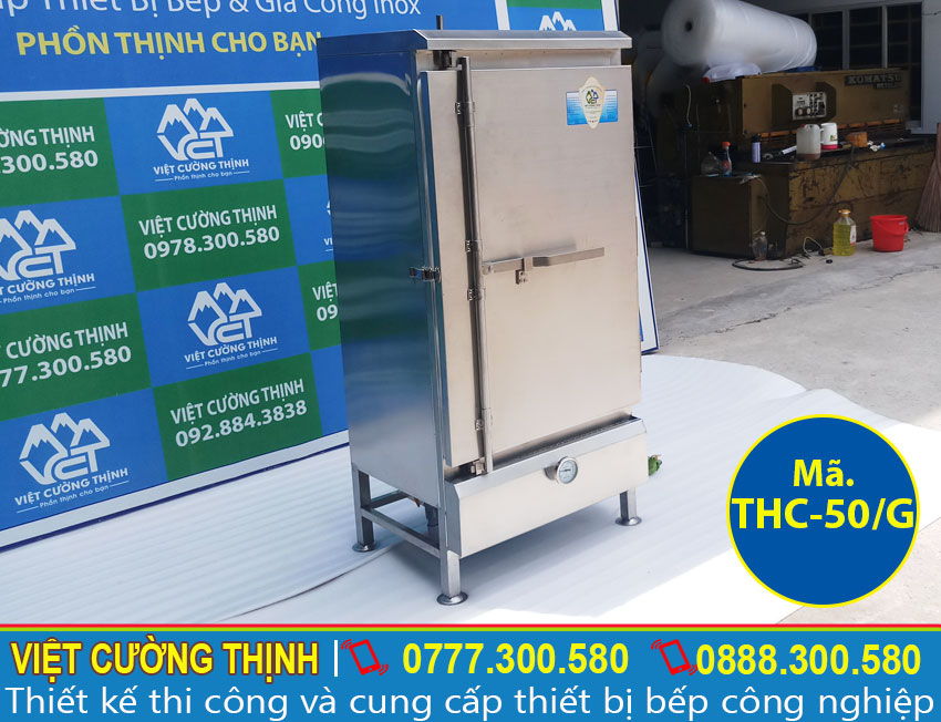 Tủ nấu cơm công nghiệp, tủ nấu cơm 50kg bằng gas sản xuất Inox Việt Cường Thình.