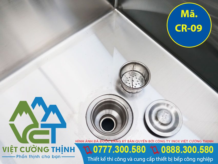 Bộ phận xả nước chậu rửa công nghiệp 2 ngăn có kệ dưới, bồn rửa chén inox công nghiệp   bồn rửa tay công nghiệp