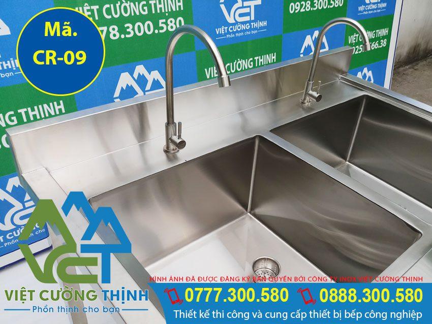 Cấu tạo chậu rửa công nghiệp 2 ngăn có kệ dưới, bồn rửa chén inox công nghiệp   bồn rửa tay công nghiệp