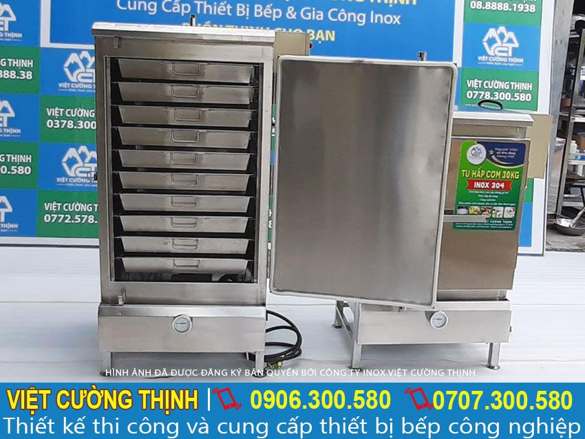 Tủ nấu cơm công nghiệp, tủ hấp cơm 50kg điện và gas sản xuất Inox Việt Cường Thịnh.