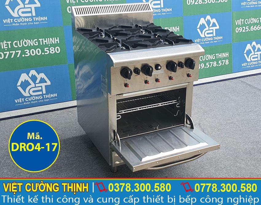 Hình ảnh tổng thể bếp âu công nghiệp, bếp âu 4 họng đốt