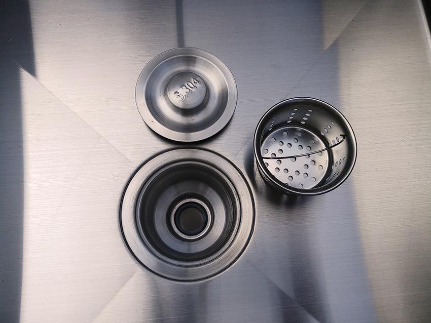 Bộ phận xả nước chậu rửa công nghiệp 2 ngăn có kệ dưới, bồn rửa chén inox công nghiệp | bồn rửa tay công nghiệp
