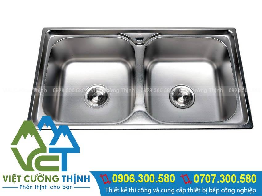 Bồn rửa chén inox 2 ngăn | bồn rửa inox công nghiệp
