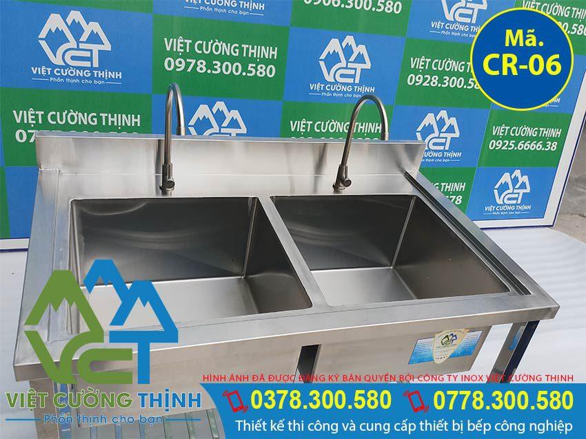 Cấu tạo chậu rửa công nghiệp 2 ngăn có kệ dưới, bồn rửa chén inox công nghiệp | bồn rửa tay công nghiệp