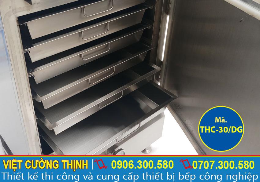 Khay tủ nấu cơm công nghiệp, Tủ nấu cơm 30kg bằng điện và gas inox chất lượng cao.