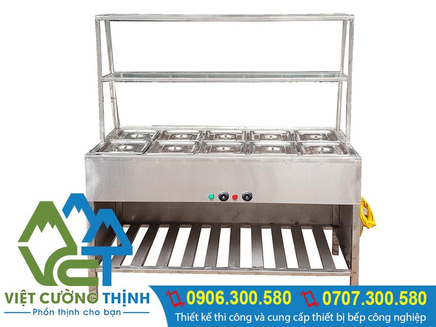Tủ hâm nóng thực phẩm, tủ giữ nóng thức phẩm 10 khay được làm từ chất liệu inox 304. Có độ bền và khả năng chống rỉ sét rất tốt.