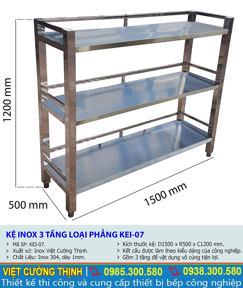 Kích thước tổng thể của kệ bếp inox 3 tầng kệ phẳng KEI-07