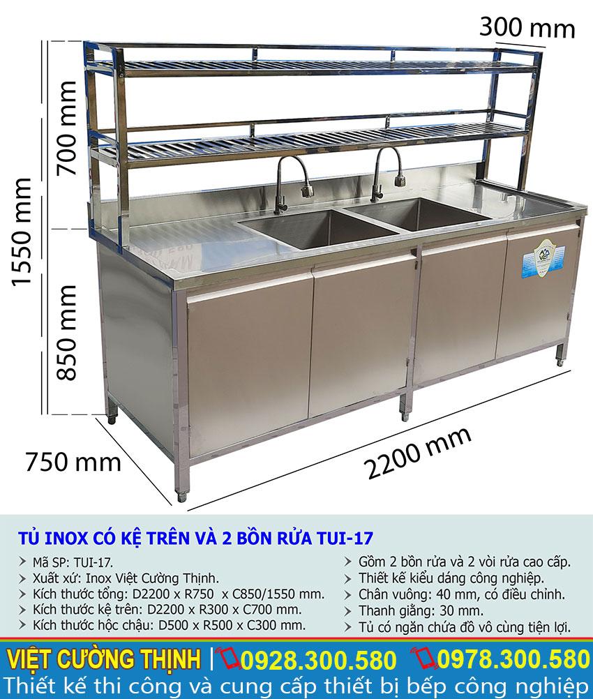 Kích thước tủ bếp inox có 2 bồn rửa và kệ trên TUI-17