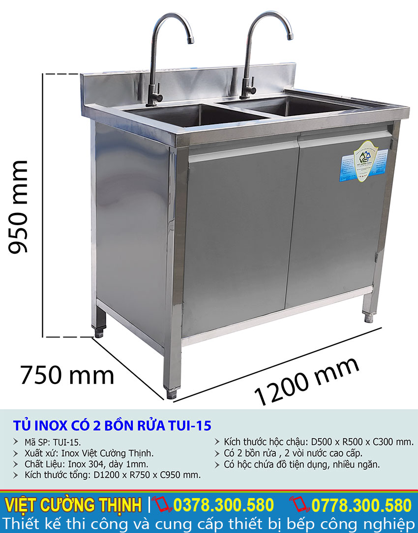 Kích thước tủ chén inox 2 ngăn | Đơn vị cung cấp sản phẩm tủ đựng chén bát bằng inox 304 uy tín