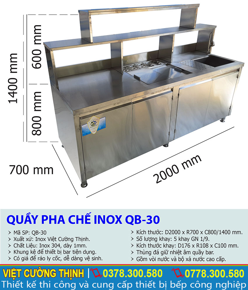 Kích thước tổng thể của quầy bar pha chế inox, quầy pha chế trà sữa inox QB-30
