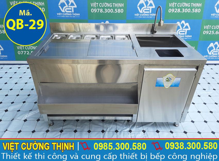 Việt Cường Thịnh - Đơn vị cung cấp Quầy bar pha chế trà sữa | Quầy pha chế cafe inox | Quầy pha chế có khay topping đa năng và tiện dụng.