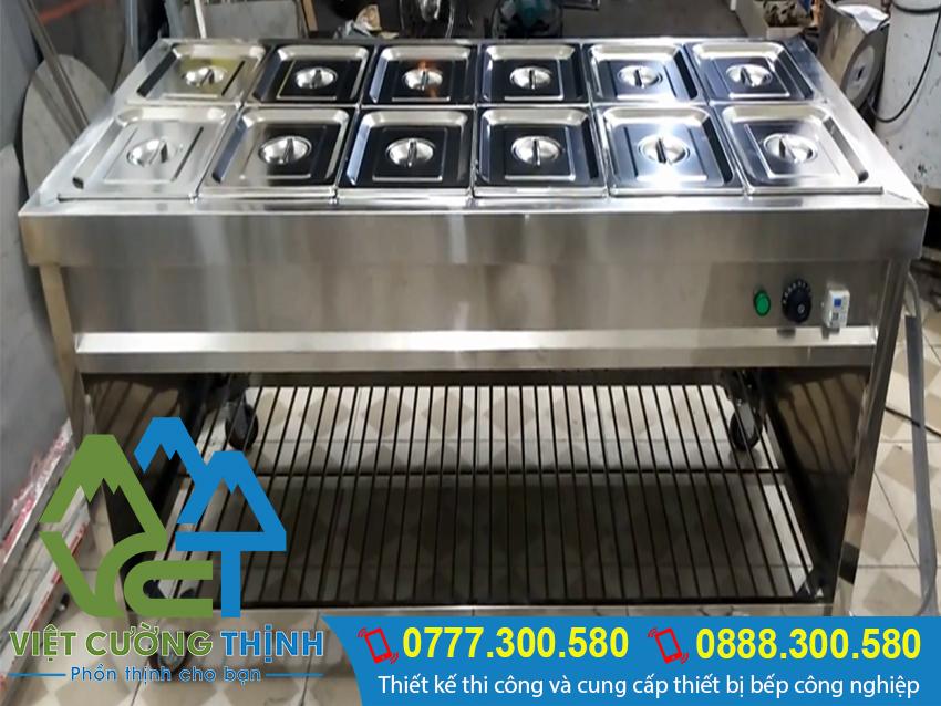 Tủ hâm nóng thức ăn 12 khay, tủ giữ nóng thực phẩm, quầy làm nóng thức ăn với thiết kế thông minh, tiện lợi.