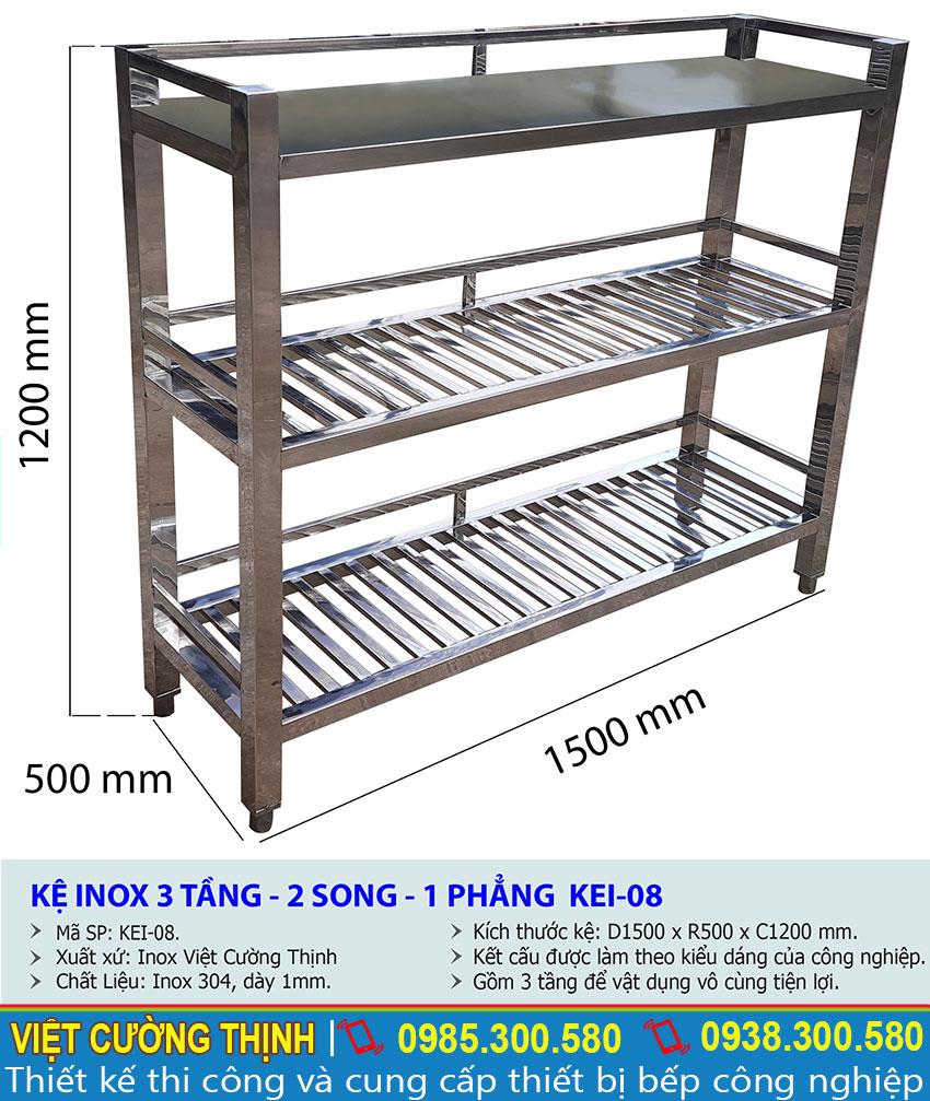 Kích thước kệ bếp inox 3 tầng 2 song 1 phẳng KEI-08