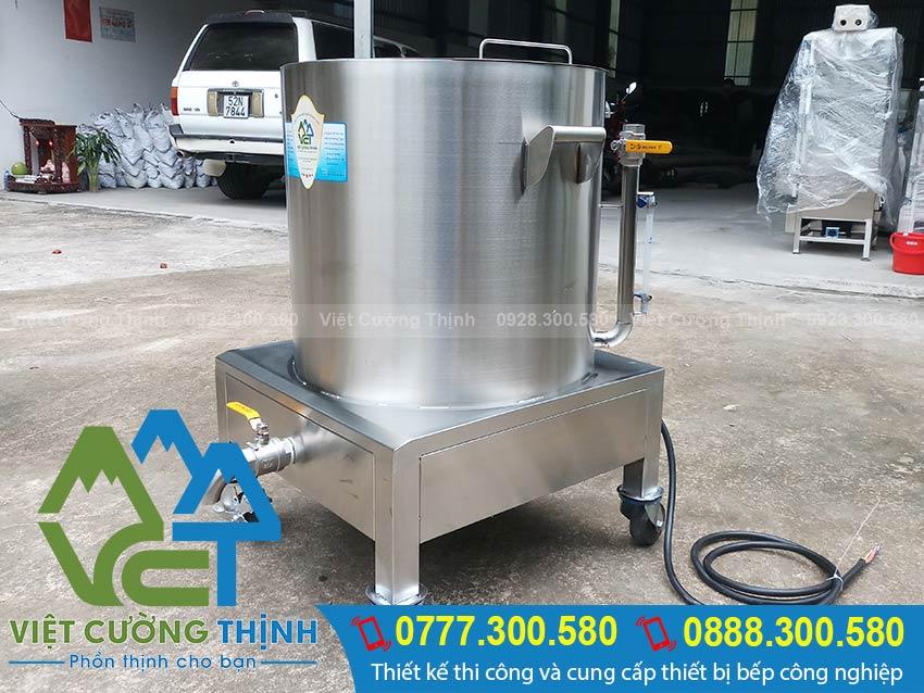 Nồi nấu cháo công nghiệp bằng điện, nồi hầm cháo dinh dưỡng bằng điện sản xuất Inox Việt Cường Thịnh.