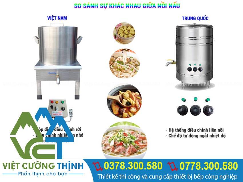 Soa sánh nồi nấu phở trung quốc với nồi nấu phở bằng điện Việt Nam
