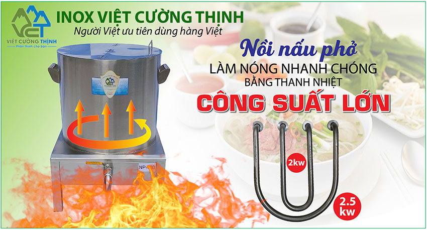 Bộ nồi nấu phở bằng điện, nồi hầm xương bằng điện, nồi điện nấu nước lèo hũ tiếu sản xuất Việt Cường Thịnh.