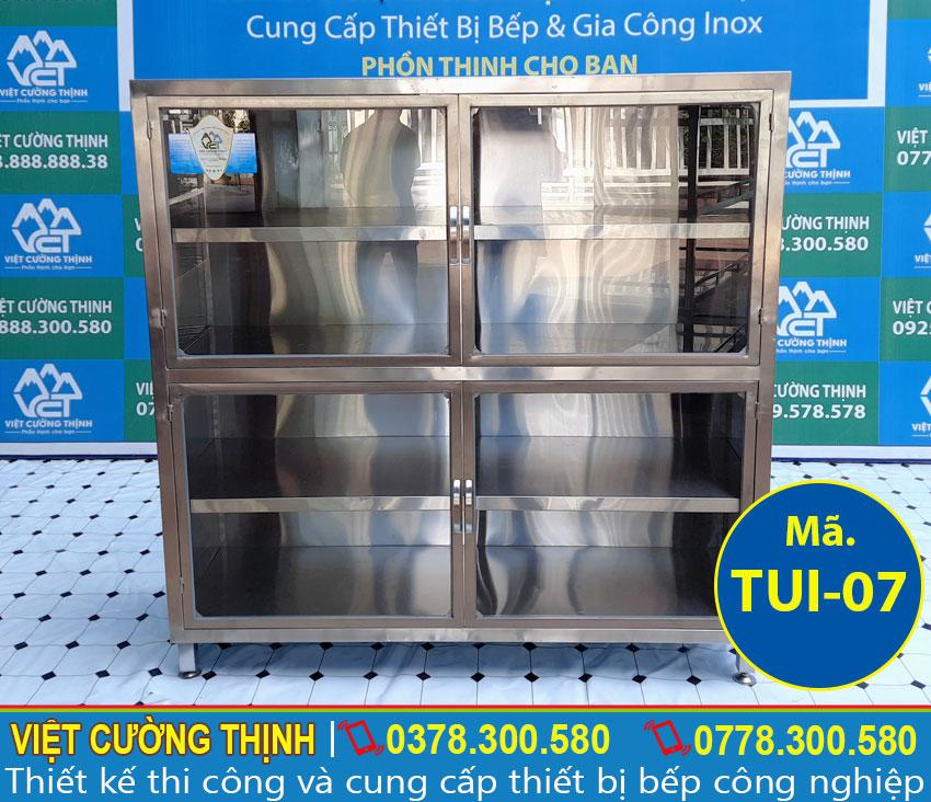 Tủ bếp inox, tủ đựng chén bát inox, tủ inox 4 tầng có cửa kính cao cấp sản xuất Inox Việt Cường Thịnh.