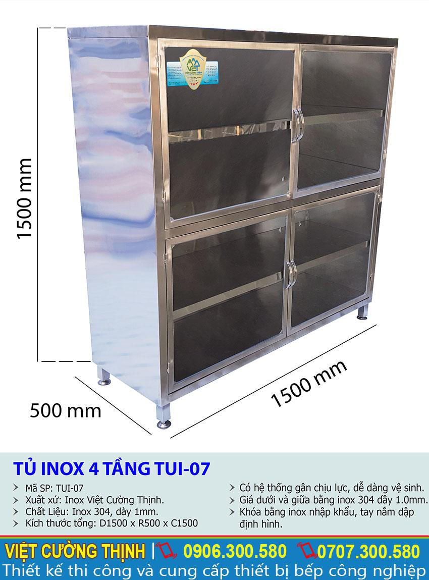 Kích thước tủ bếp inox, tủ đựng chén bát inox, tủ inox 4 tầng có cửa kính cao cấp sản xuất Inox Việt Cường Thịnh.