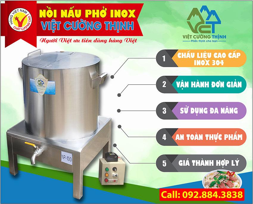 Nồi nấu phở bằng điện Inox Việt Cường Thịnh