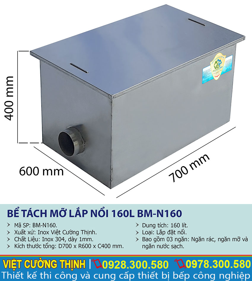 Thông số kỹ thuật Bể tách mỡ inox | bẫy mỡ | bẫy mỡ inox| bể tách dầu mỡ inox |bể tách mỡ