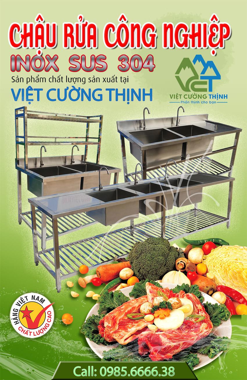 Chậu rửa bát công nghiệp, bồn rửa chén inox công nghiệp - Việt Cường Thịnh