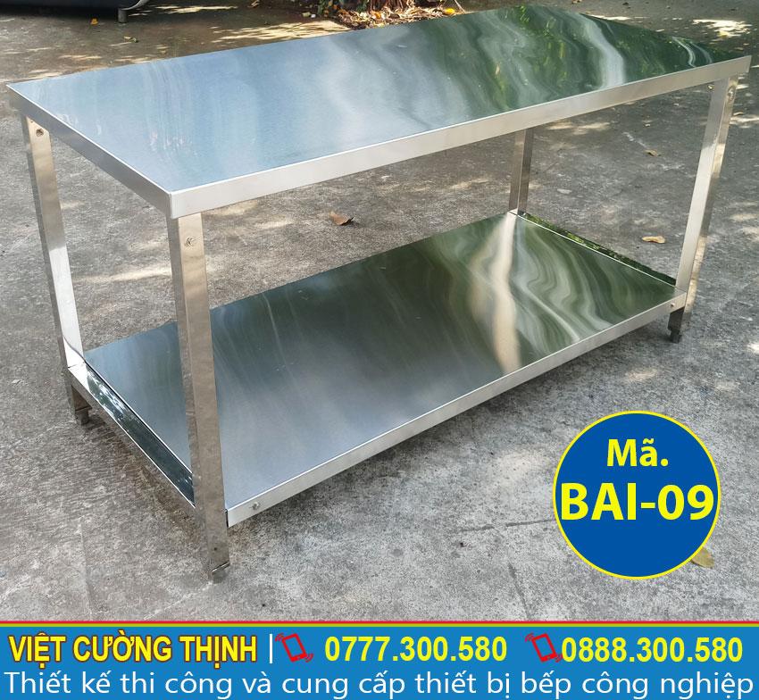 Bàn bếp inox sản xuất inox 304 cao cấp, có độ bền cao và không bị oxy hoá.