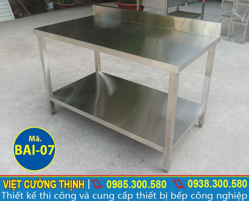 Bàn bếp inox 2 tầng, bàn sơ chế inox 2 tầng, bàn để chén bát sản xuất Inox Việt Cường Thịnh.
