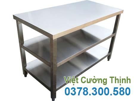 Bàn bếp inox công nghiệp, bàn bếp inox nhà hàng, bàn bếp inox 3 tầng sản xuất Việt Cường Thịnh.