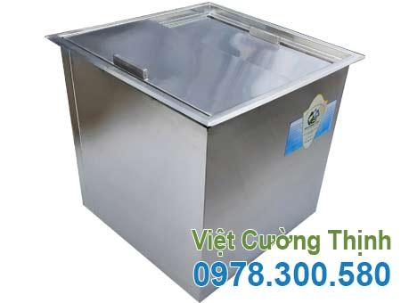 Thùng đá inox âm bàn, thùng chứa đá inox quầy bar sản xuất Inox Việt Cường Thịnh.