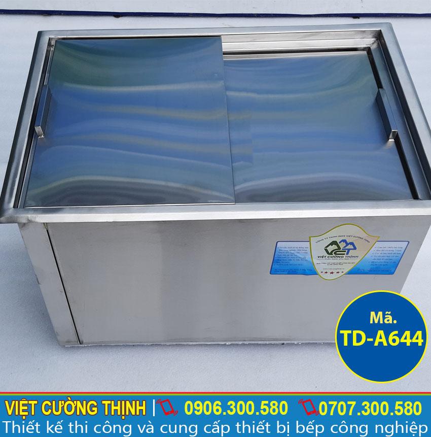Thùng đá inox âm bàn, thùng chứa đá inox quầy bar, thiết bị giữ lạnh inox cao cấp sản xuất Inox Việt Cường Thịnh.
