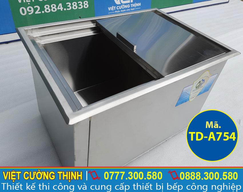 Thùng đá inox âm bàn, tủ đá inox âm bàn quầy bar cao cấp và chính hãng sản xuất Inox Việt Cường Thịnh.