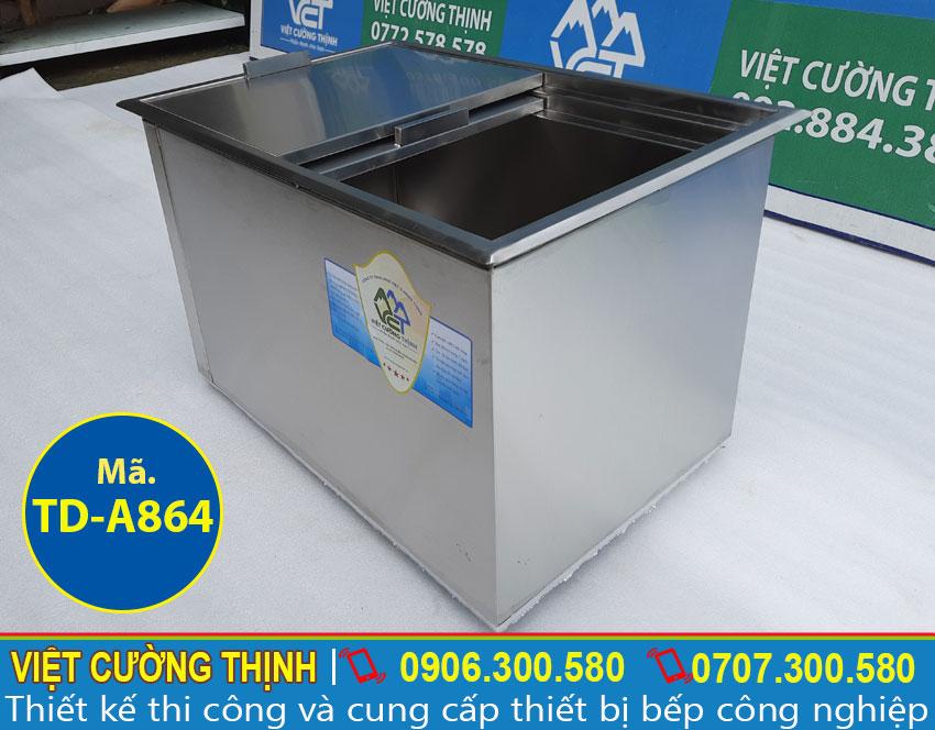 Thùng đá inox, tủ đá inox âm bàn chất lượng cao sản xuất Inox Việt Cường Thịnh.