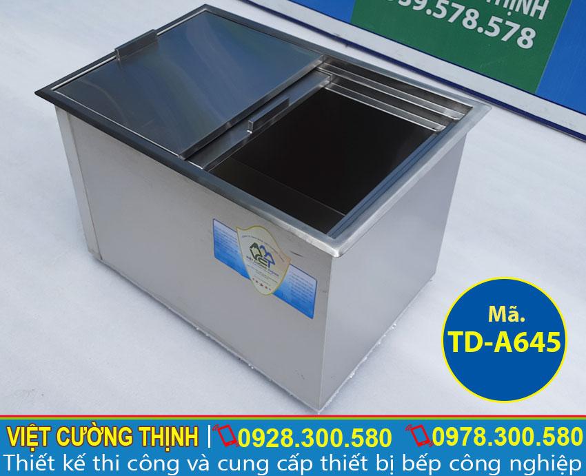 Thùng đá inox, tủ đá âm bàn quầy bar inox cao cấp, đa năng và tiện dụng sản xuất Inox Việt Cường Thịnh.