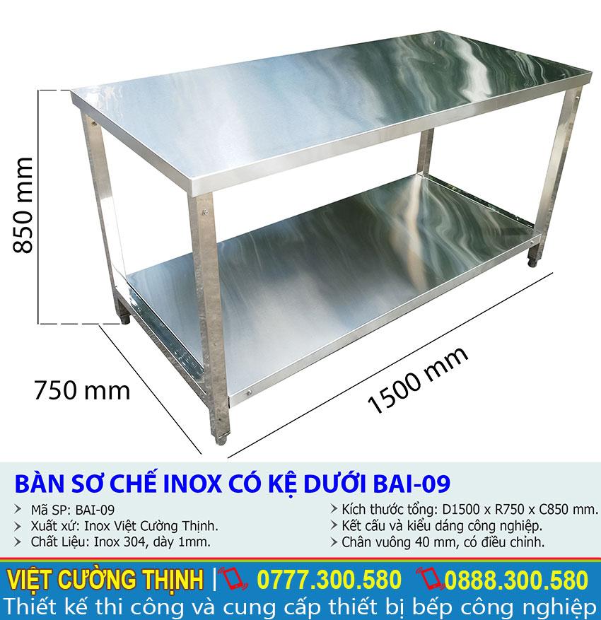 Kích thước bàn inox 2 tầng, bàn sơ chế inox, bàn đựng chén bát inox 2 tầng BAI-09