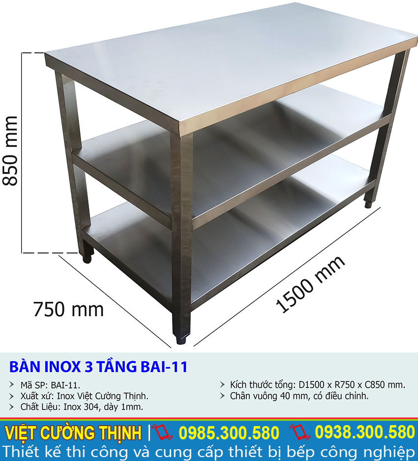 Kích thước về bàn úp chén bát inox, bàn bếp inox 3 tầng BAI-11 sản xuất Inox Việt Cường Thịnh.