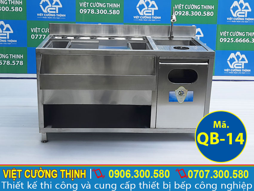 Quầy pha chế inox 304, thiết bị quầy bar, quầy inox, quầy inox trà sữa- Việt Cường Thịnh