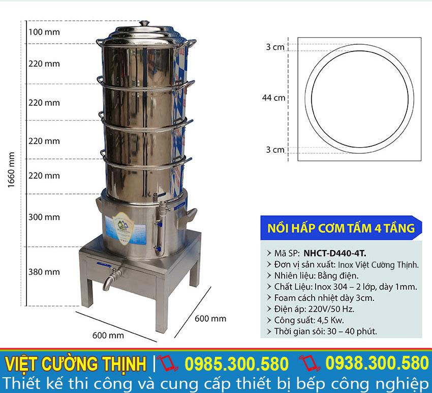 Thông số kỹ thuật về Nồi hấp xôi bằng điện, Nồi nấu cơm bằng điện sản xuất Inox Việt Cường Thịnh.
