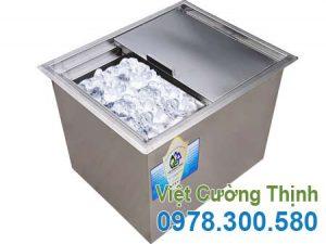 Thùng đựng đá âm bàn inox, thùng chứa đá inox, thùng đá inox giá rẻ sản xuất Inox Việt Cường Thịnh.