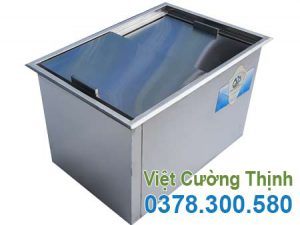 Thùng đựng đá inox âm bàn, thùng chứa đá inox âm bàn, thùng giữ nhiệt âm bàn sản xuất Inox Việt Cường Thịnh.