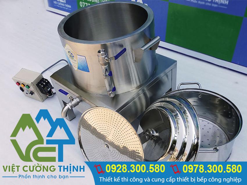 Bộ phận xửng hấp cơm tấm bằng điện, bộ nồi xửng hấp inox cao cấp có thể tháo rời