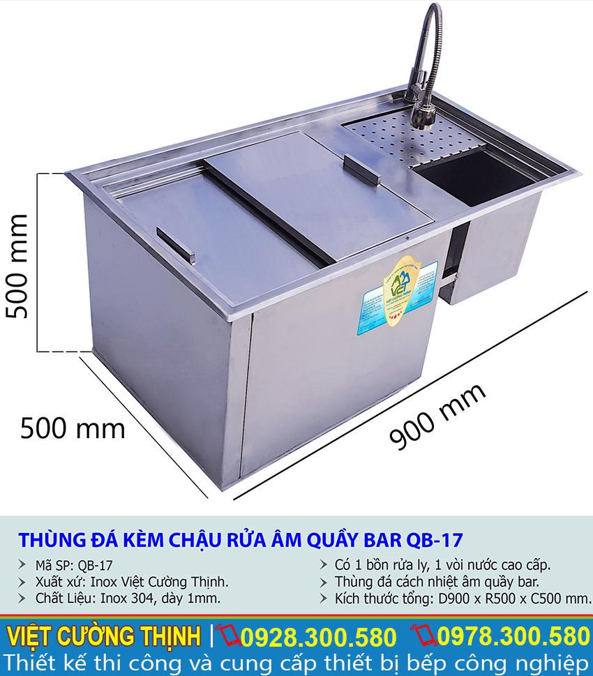 Kích thước Thùng Đá kèm Chậu Rửa Inox Âm Quầy Bar   thùng đá inox quầy bar   Thùng đựng đá inox   Thùng chứa đá inox sản xuất tại Việt Cường Thịnh.