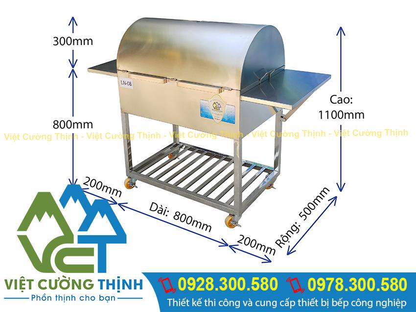 Kích thước lò nướng bbq, lò nướng than ngoài trời, bếp nướng sườn inox sản xuất Inox Việt Cường Thịnh.