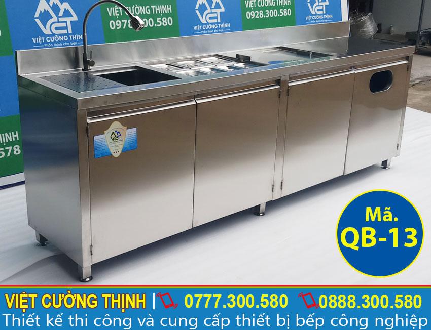 Mẫu thiết kế quầy bar inox, quầy pha chế trà sữa inox 2m3 (Ảnh thật tế).