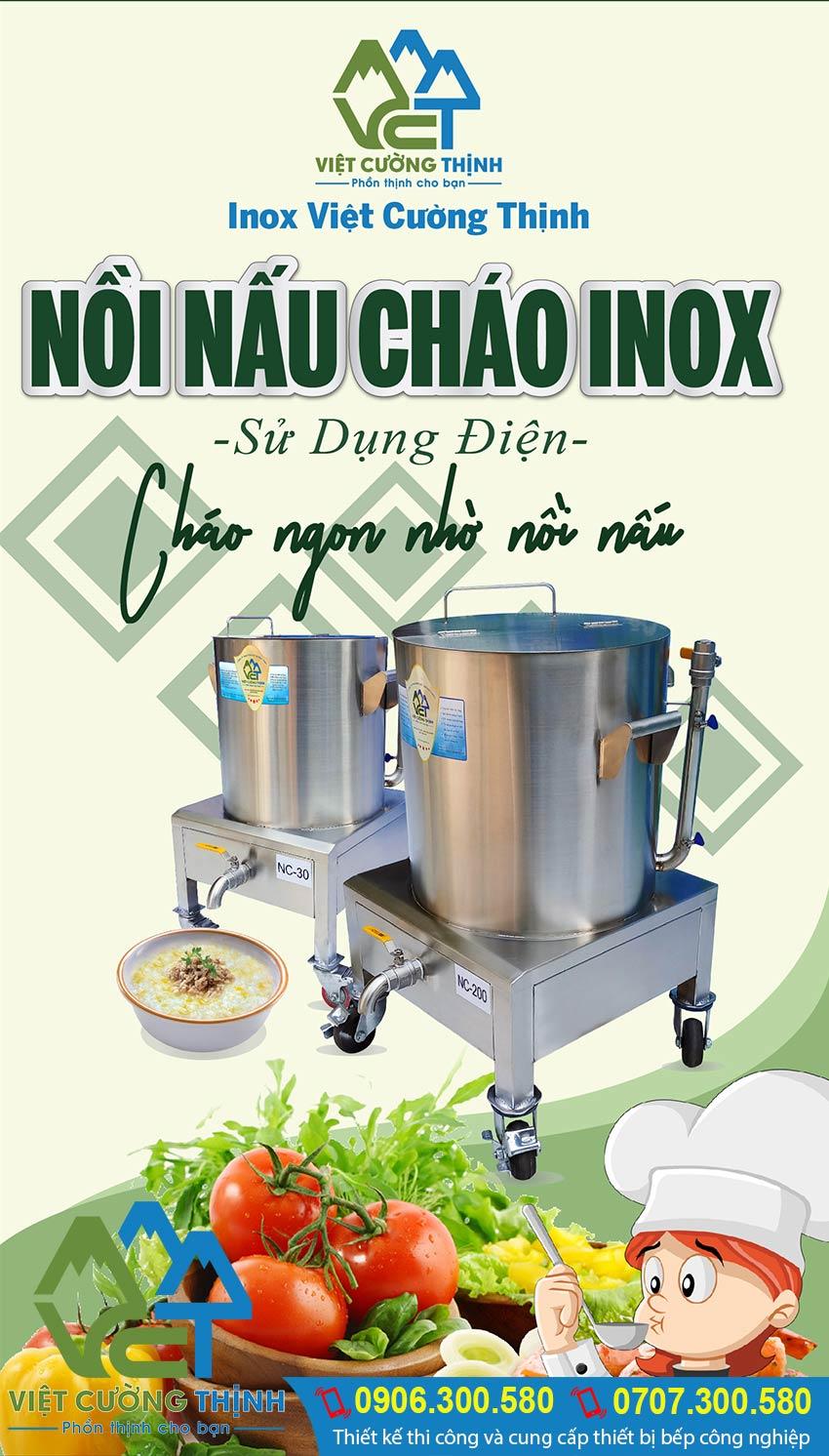 Nồi nấu cháo bằng điện, Nồi hầm cháo bằng điện, Nồi điện inox nấu cháo dinh dưỡng cao cấp và đa năng tại Inox Việt Cường Thịnh.