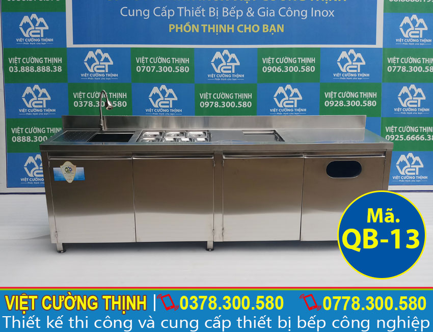 Việt Cường Thịnh - Địa chỉ mua quầy pha chế trà sữa inox, quầy bar cafe inox 2m3 giá tốt tại TPHCM (Ảnh thật tế)