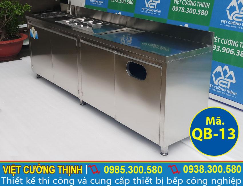 Giá quầy pha chế trà sữa, quầy bar cafe inox 2m3 QB-13 (Ảnh thật tế).
